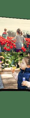 verschiedene Foto-Abzüge von Kindern und Landschaften